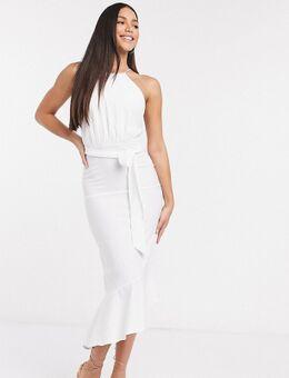 Mouwloze midi-jurk met lagen in wit-Multi
