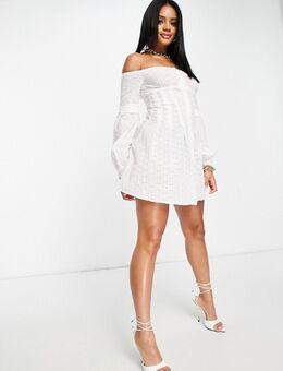 Off-shoulder mini jurk van katoen met borduursels in wit