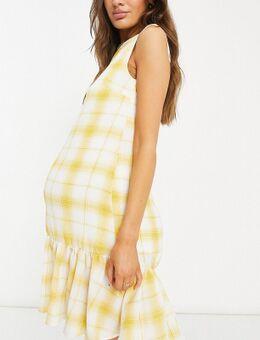 Zwangerschapskleding - Geruite mini-jurk met ruches aan de zoom in geel