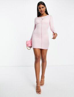 Missy Empire - Mini jurk met contrasterend stiksel in roze