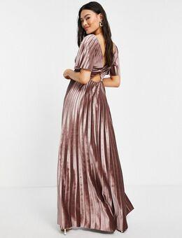 Fluwelen maxi jurk met empirelijn, gedraaide achterkant en geplooide taille in champagnekleur-Goud