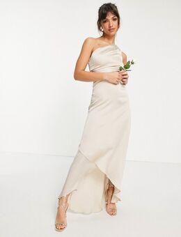 Lange jurk voor bruidsmeisjes met een blote schouder in mink-Bruin