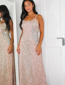 Lange jurk met fijne lovertjes in roze