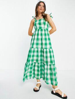 Lange jurk met strikken op schouderbandjes in groen ruitje