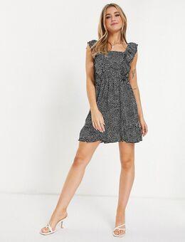 Mini-jurk met vierkante hals en polkadots-Veelkleurig