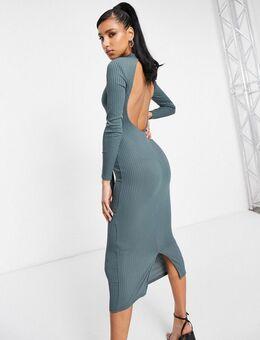 Midaxi jurk met open achterkant in leisteen-Paars