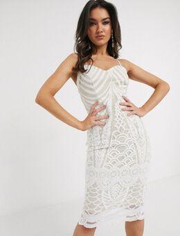 Kanten midi-jurk in wit