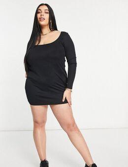 Flounce Plus - Geribbelde mini-jurk met lage ronde hals in zwart