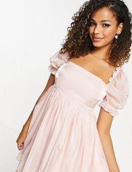 Babydoll mini-jurk met pofmouwen in roze