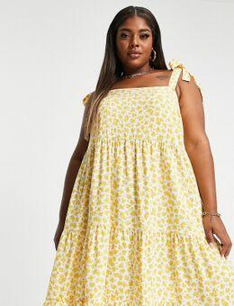 New Look Curve - Gelaagde mini jurk met gestrikte schouders in gele bloemenprint-Geel