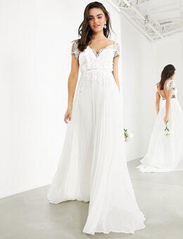 Sophia - Diepuitgesneden bruidsjurk van kant met geplooide rok-Wit