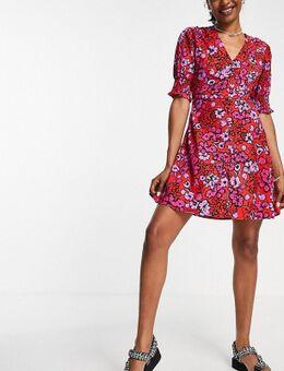 Nette mini-jurk met bloemenprint in rood