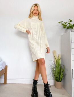 Grofgebreide trui jurk-Crème