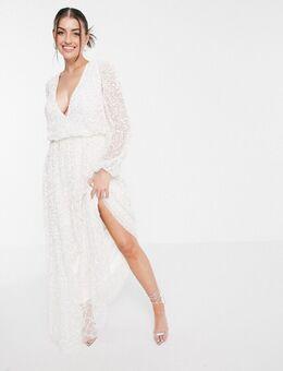 Lange jurk met diepe V-hals en versiering in wit