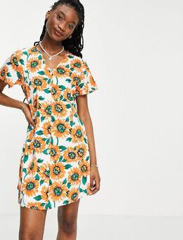 Mini jurk met zonnebloemenprint-Wit