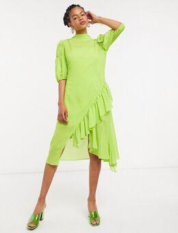 Hoogsluitende aangerimpelde doorzichtige midi-jurk met ruches-Groen