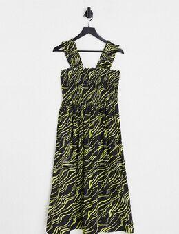 Plus - Exclusives - Midi jurk met zebraprint in zwart en geel-Rood