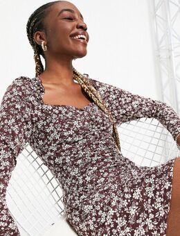 Tall - Mini jurk met gerimpelde voorkant en lange mouwen in bruine bloemenprint