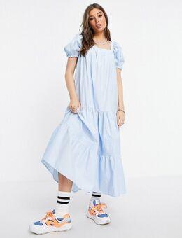 Aangerimpelde midi-jurk met pofmouwen in blauw