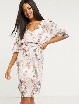 Fluwelen midi-jurk met gedrapeerde knoop in multi bloemenprint