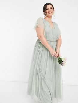 Anaya With Love Plus - Lange bruidsmeisjesjurk van tule met kapmouwtjes in salie-Groen