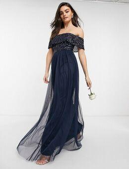 Maxi-jurk met tule voor bruidsmeisjes met bardot-hals en delicate lovertjes in dezelfde kleurschakering in marineblauw