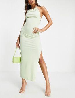 Lange jurk met gerimpelde halternek en open achterkant in limoengroen met glitter