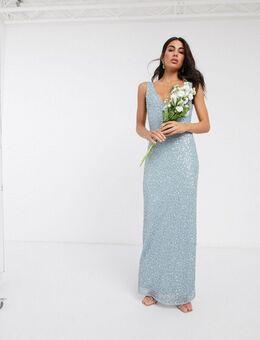 Lange versierde jurk in lichtblauw