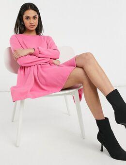 Aangerimpelde mini sweaterjurk in fuchsiaroze