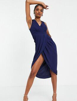 Bruidsmeisjes - Midi jurk met overslag in marineblauw