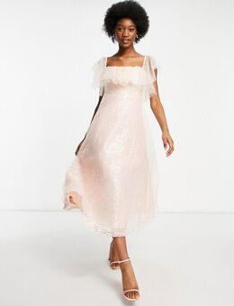 Midi-jurk met Bardot-halslijn van organza en lovertjes in roze