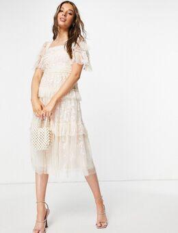 Arwen - Midi-jurk in melkmeisjesstijl met kant in roze