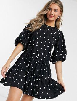 Gelaagde mini-jurk met ballonmouwen en stippen-Zwart