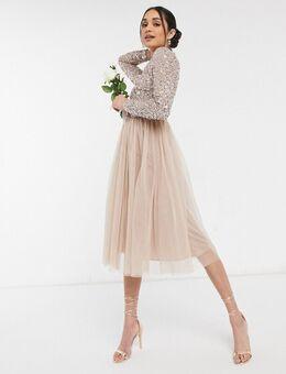 Bridesmaid - Midi jurk met lange mouwen van tule met lovertjes in dezelfde tint in zachtroze