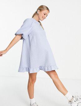 Pieces - Zwangerschapskleding - Rechtvallende jurk met pofmouwen in blauw