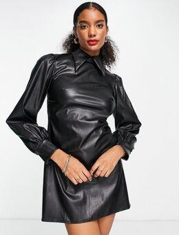 Mini-jurk van imitatieleer met kraagje en pofmouwen in zwart