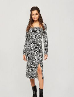 Midi-jurk met dierenprint-Bruin