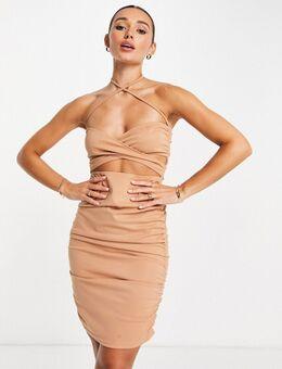 Slankvallende gerimpelde mini-jurk met gekruiste voorkant in camel-Neutraal