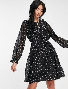 Mini jurk met geruchete voorkant in zwart