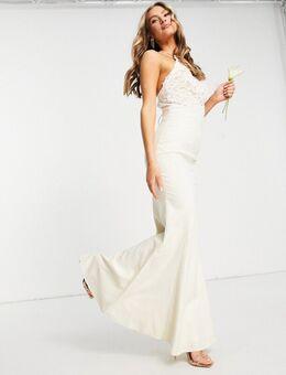 Lange jurk met kanten bovenkant in ecru-Wit