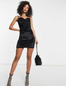 Fluwelen mini-jurk met camibandjes en gedrapeerde halslijn in zwart