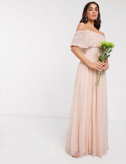 Lange versierde jurk in abrikooskleur-Oranje