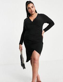 Asymmetrische midi-jurk met overslag en rimpeleffect in zwart