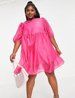 Aangerimpelde mini jurk met pofmouwen in roze