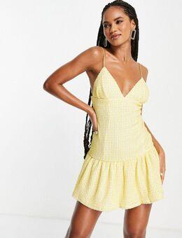 Diepuitgesneden mini cami-jurk met textuur en strook in geel