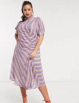 Midi-jurk met knopen, strepen en fijne bloemenprint-Paars