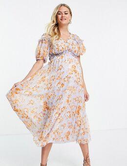 ASOS DESIGN Maternity - Geplooide midi jurk met smokwerk, pofmouwen en bloemenprint-Veelkleurig