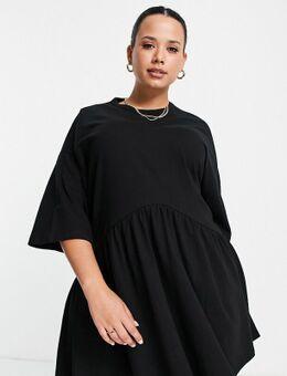 ASOS DESIGN Curve - Oversized aangerimpelde mini-jurk met verlaagde taille in zwart