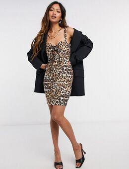 Bodycon mini-jurk met uitsnijding voor in luipaardprint-Bruin
