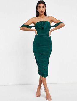 Bodycon jurk met gedrapeerd detail in smaragdgroen